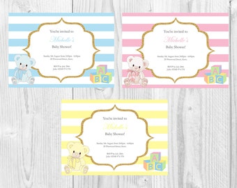 Girl, Boy, Neutral Baby Shower Invite/Invitation, personalised, PDF, printable.