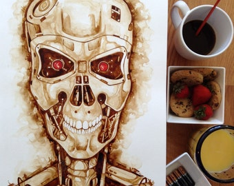 Terminator T800 coffee painting