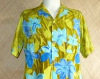 1970's Mens Green Sears Hawaiian Safari Shirt