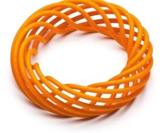 Sculptural Vortex Bangle -3d printed bangle - 3d printed jewellery - Ochre - Yellow bangle - Lightweight bangle - Katy Luxton Jewellery