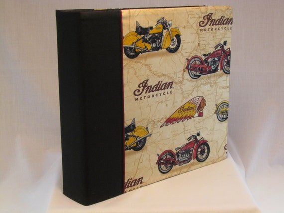 12x12 Postbound Fabric Scrapbook Photo Album Memory Book Handmade Indian Motorcylce Polaris Cycling Bikes Biking  AO18 Album Outfitters