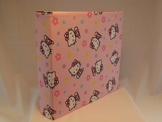 12x12 Postbound Fabric Scrapbook Photo Album Memory Book Handmade Baby Girl Hello Kitty Pink Princess Bow Flowers AO49 Album Outfitters