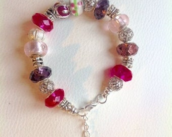 Charms pink bracelet (sold individually)