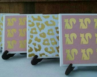 Cat Coasters, Set of 4 Tile Coasters, Pink Cat Coasters, Pink and Gold Coasters, Pink and Gold Cat Coasters, Gold Cat Coasters