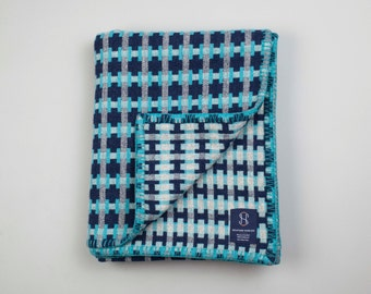Geometric Woven Lambswool Blanket - Puzzle design in Turquoise, Grey & Navy (Sea)