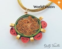 Paper Quilled Necklace, Charity, Proceeds To Charity, Paper Quilling Jewelry, Quilled Jewelry, Paper Quilling