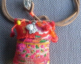 Textile necklace/pendant, Bohemian spirit. Hand made jewelry.