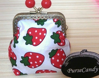SWEET STRAWBERRY - Cute strawberry print, fabric coin purse