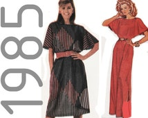 1980s Evening Dress, McCalls 9505 sz 14-16 b 36-38 UNCUT, Boat Neck Dress, Flared Sleeve Dress, Batwing Sleeve Dress, Pullover Dress Pattern