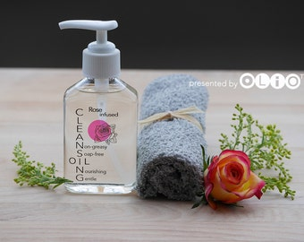Pure Rose Infused Oil Cleanser, Gentle Plant based Facial Cleansing Oil, Natural Makeup Remover, Spa Gift Set - 4oz pump bottle