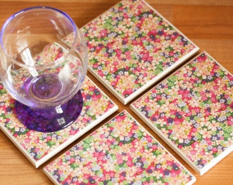 Ceramic coasters – pink, green and lilac floral print tile coasters – set of 4