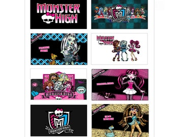 8 PRINTED Monster High Stickers, Birthday Party Favors, Labels