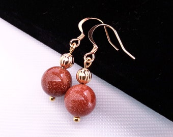 Natural Gold Stone Round Beads Earrings