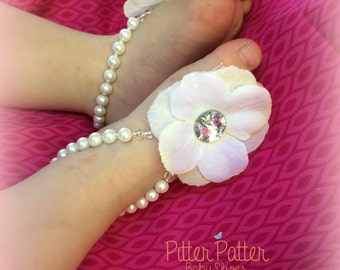 Pearly White Beaded Baby Barefoot Sandals - Barefoot Sandals - Baby Shoes - Footless Sandals - Baby Girl Shoes- Baby Gift - Baby Accessories