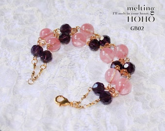 Pink & Violet Crystal Beaded Gold Bracelet