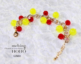 Yellow & Red Crystal Beaded Gold Bracelet
