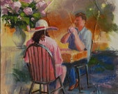 "Cafe Brunch People Unframed - 8""W x 10""H - Original Oil Painting by Sue Whitney - Oil on Canvas -""Brunch at the Yellow Door Cafe"""