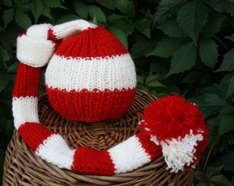 Newborn Baby Boy or Girl Knitted Striped red and white ,Newborn Baby Boy or Girl Knitted Striped Elf Hat with pom pom for Photography Props