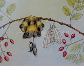 Fine Art/ Original Art/Bumblebee Art/ Flower Art/ Fairy Art/ Nature Art/ Bee