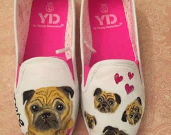 Pug Shoes! Custom deisgn Hand painted Children's Shoes