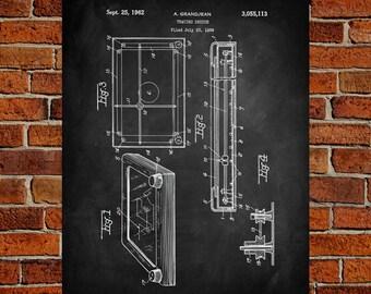 Etch A Sketch Art Print,  Patent, Etch A Sketch Vintage Art,  Blueprint,  Poster, PatentPrints, Wall Art, Decor [TO37A]