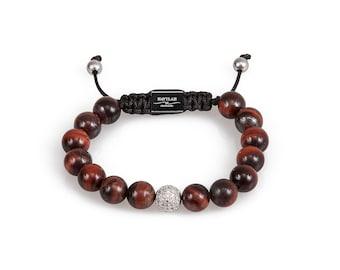 Red Tiger Eye Gemstone Bead Bracelet with Pave