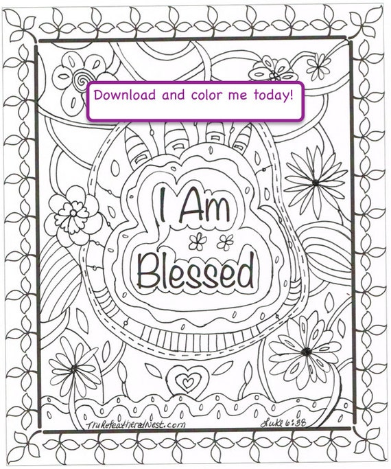 I Am Blessed Downloadable Scripture Coloring Page
