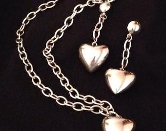 Heart Pendant Necklace & Pierced Earrings Set Silvertone Puffy Heart