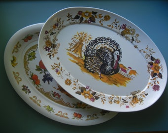 Two Melamine Platters ~ Features Turkey and Fruits & Vegetables