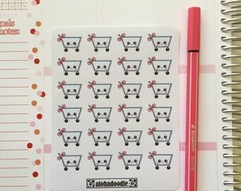 Kawaii Shopping Cart Planner Stickers