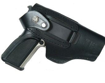 CZ 75 Compact Belt Slide Right and Left Hand Holster Black Leather Slide Guard