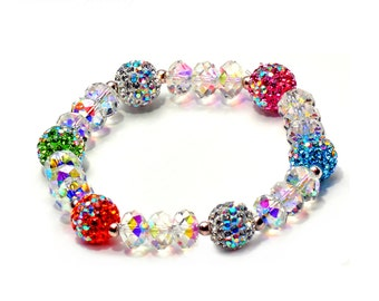 Luxurious Women's designer Crystal disco ball  Elastic Shamballa Bracelet ds