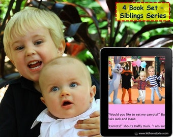 4x Personalized Children's Books with Photo- Set of 4 personalized kids eBooks for Siblings (2-3 kids) with their photos and names.