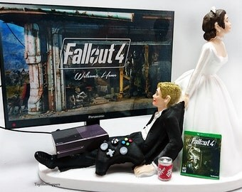 Fallout Wedding Cake Topper Video Gamer Bride and Groom Xbox One/PS4/PC