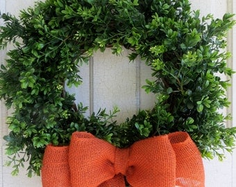 Boxwood wreath, Orange burlap ribbon, Summer Wreath, Front Door Wreath
