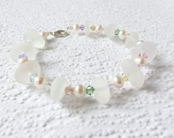 Pastel Seaham seaglass, freshwater pearl and Swarovski crystal Sterling silver bracelet- geniune English sea glass