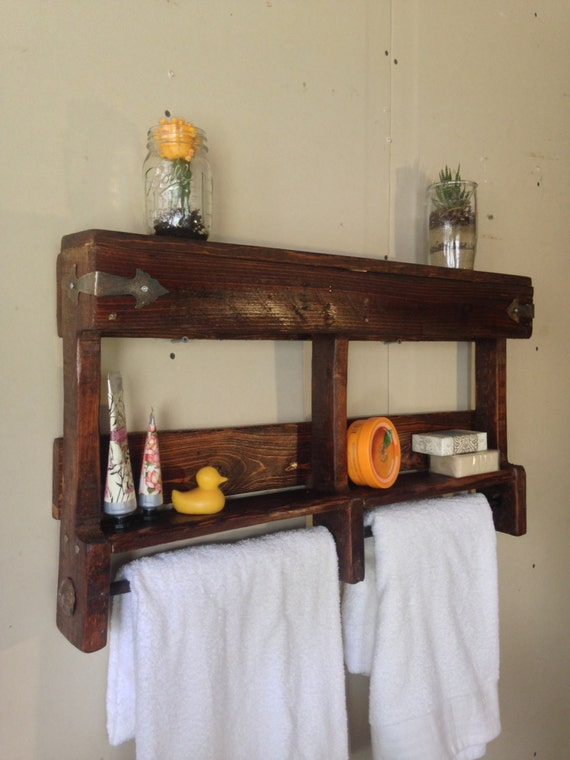 items similar to rustic bathroom towel rack rustic bathroom shelf reclaimed wood bathroom. Black Bedroom Furniture Sets. Home Design Ideas