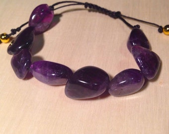 Chunky amethyst stone adjustable string braclet