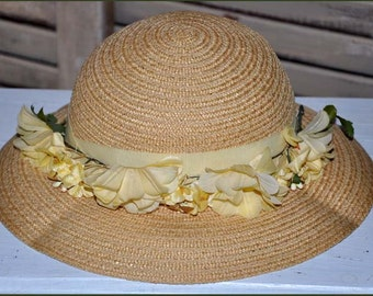 1800's Child's Hat, Wide Brim Straw Hat, Natural Straw Hat, Girl's Straw Hat, Straw Flowered Hat, Vintage Girl's Hat