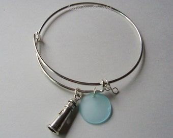 Silver Light House W/ Aqua SEA GLASS W/  Silver Infinity Dangle /  Adjustable Bangle / Beach Glass Bangle / Gift For Her  USA  GL1