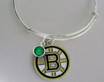 NHL BRUIN CHARM Bangle  Hockey  Charm W/ Initial / Birthstone Bangle -  Bruins Charm Bracelet - Stack able Bangle Nhl Bangle - Usa SP1