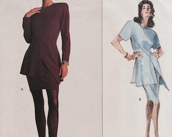 Vintage 1980s Vogue Designer Original 2162 Genny Dress Sewing Pattern Peplum Size 12