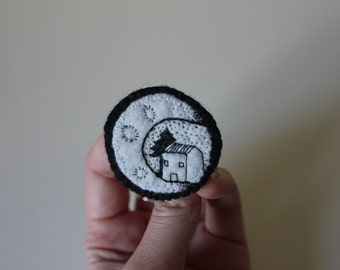 Moon house felt brooch