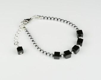 Black Cube Bracelet, Silver Metallic Bracelet,Black cube beads with Silver beads Bracelet, Cube Bead Jewellery