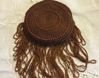 Beautiful Brown Beaded Flapper Purse Circa 1920.