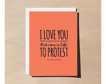 Greeting Card - William Shakespeare - I Love You