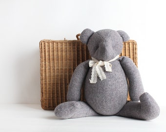 Vintage Large Grey Wool Teddy Bear