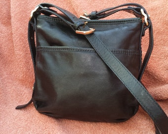 DKNY black leather messenger shoulder bag