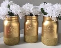 Gold Glitter Mason Jars, Painted Mason Jars, Glitter Jars, Gold, Glitter, Wedding Centerpieces