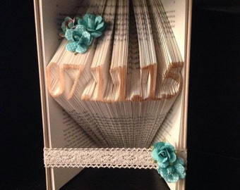 Book sculpture - first anniversary gift for him or her - Husband Wife Anniversary Date - Wedding Gift - Save the Date - Folded Book